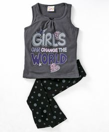 Eimoie Sleeveless Girls Can Change The World Print Night Suit - Grey