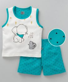 Mini Taurus Sleeveless Tee and Shorts Elephant Print - Green