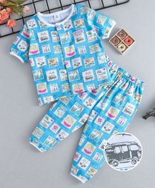 ToffyHouse Half Sleeves Night Suit Vehicle Print -  Blue