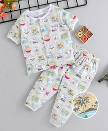4e083e16f9 ToffyHouse Half Sleeves Night Suit Tree Print - Off White