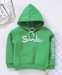 Kookie Kids Full Sleeves Hoodie Smile Print - Green