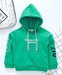 Kookie Kids Full Sleeves Hoodie Text Print - Dark Green