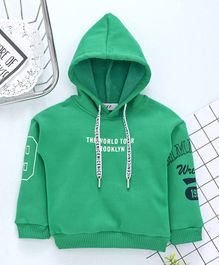 Kookie Kids Full Sleeves Hoodie Text Print - Green