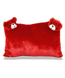 Planet of Toys Rectangle Cushion With Teddy Applique - Red