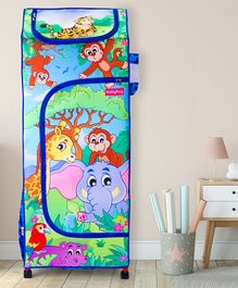 Babyhug Foldable 4 Shelved Almirah With Wheels Jungle Baby Print - Blue