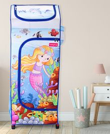 Babyhug Foldable 4 Shelved Almirah With Wheels Mermaid Life Print - Light Blue