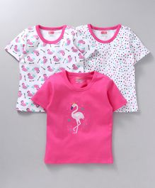 Babyhug Half Sleeves Cotton Tees Pack of 3 - White Pink