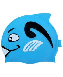 Passion Petals Silicone Waterproof Swimming Cap Fish Design - Blue