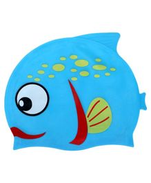 Passion Petals Silicone Waterproof Swimming Cap Fish Design - Blue & Red