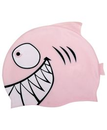 Passion Petals Silicone Swimming Cap Shark Pattern - Light Pink