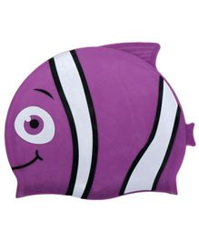 Passion Petals Silicone Swimming Cap Fish Pattern - Purple & White