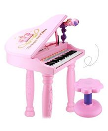 GetBest Electronic Piano Toy With Microphone & Stool - Pink