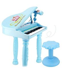 GetBest Electronic Piano Toy With Microphone & Stool - Blue