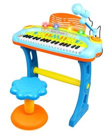 GetBest Electronic Piano Toy With Microphone & Stool - Blue Orange