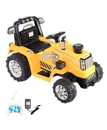 Wheel Power Battery Operated Ride On Tractor - Yellow