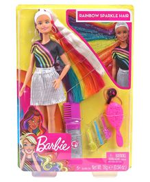 Barbie Rainbow Sparkle Hair Doll Black Silver - Height 29.5 cm