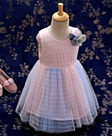 Kookie Kids Sleeveless Frock With Flower Corsage - Pink