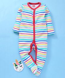 Babyhug Cotton Full Sleeves Striped Sleepsuit - Dark Pink