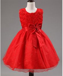 Awabox Sleeveless Shimmer Detailed Big Bow Applique Dress - Red