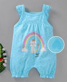 Moms Love Sleeveless Romper Kitty Print - Aqua Blue