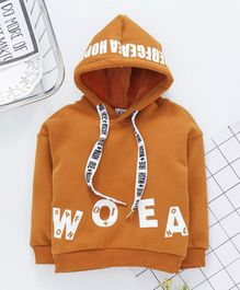 Kookie Kids Full Sleeves Hooded Sweatshirt Text Print - Brown