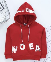 Kookie Kids Full Sleeves Hooded Sweatshirt Text Print - Red