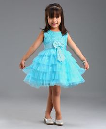 Babyhug Sleeveless Flared Net Dress With Bow Applique - Blue