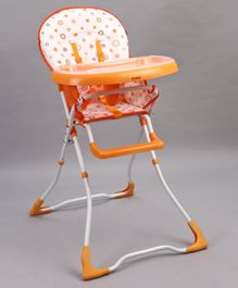Babyhug Foodjoy Smart Folding High Chair With 5 Point Safety Harness - Orange White