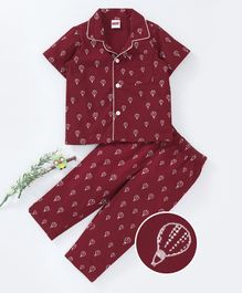 Babyhug Half Sleeves Woven Cotton Front Open Printed Night Suit - Dark Red