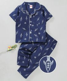 Babyhug Half Sleeves Woven Cotton Night Suit Allover Space Rocket Print - Navy Blue