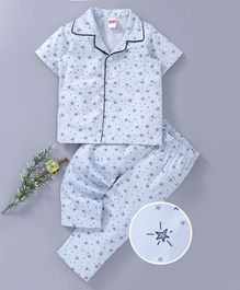 Babyhug Half Sleeves Woven Cotton Front Open Printed Night Suit - Blue