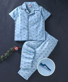 Babyhug Cotton Woven Half Sleeves Night Suit Shoe Print - Blue