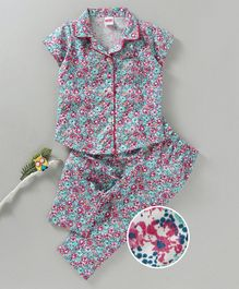 Babyhug Half Sleeves Woven Cotton Night Suit Allover Floral Print - Multicolor