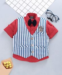 Rikidoos Full Sleeves Shirt With Striped Waistcoat & Bow - Red & Blue
