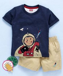 Babyhug Half Sleeves Single Jersey Tee And Shorts Astronaut Print - Navy Blue Khaki