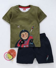 Babyhug Half Sleeves Single Jersey Tee And Shorts Astronaut Print - Olive Green Navy Blue
