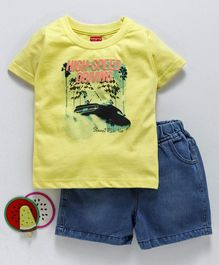 Babyhug Half Sleeves Single Jersey Tee And Shorts High Speed Jersey Print - Yellow Blue