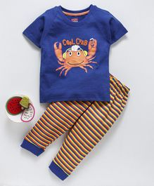 Babyhug Half Sleeves Tee And Stripe Lounge Pant Cool Crab Print - Blue Yellow