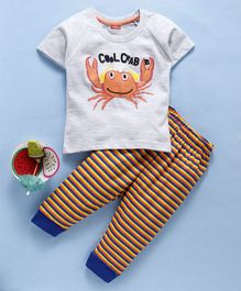 Babyhug Half Sleeves Tee And Stripe Lounge Pant Cool Crab Print - Light Grey Yellow