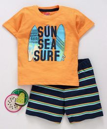 Babyhug Half Sleeves Tee And Stripe Shorts Surf Print - Orange Black