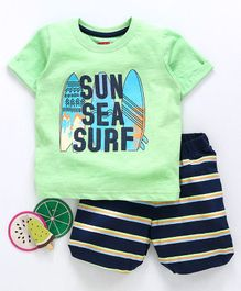 Babyhug Half Sleeves Tee And Stripe Shorts Surf Print - Green Black
