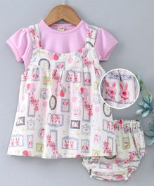 Dew Drops Half Sleeves Frock With Inner Tee & Bloomer Bunny Print - Light Pink