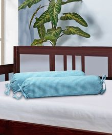 The Baby Atelier Organic Cotton Bolster Cover With Fillers - Blue