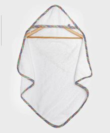 The Baby Atelier Organic Cotton Checked Hooded Towel - White