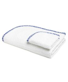 The Baby Atelier Organic Cotton Towel With Wash Cloth - Blue White