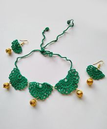 Milonee Handcrafted Crochet Design Necklace With Earrings Set - Dark Green
