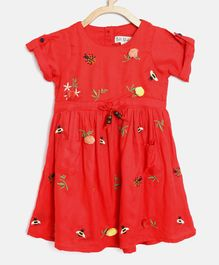 Bella Moda Flower Applique Short Sleeves Dress - Red