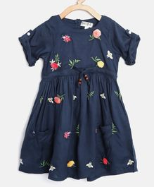 Bella Moda Flower Applique Short Sleeves Dress - Navy Blue