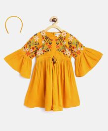 Bella Moda Full Sleeves Flower Embroidered Dress With Hair Band - Yellow