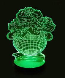 Bluday Colour Changing 3D LED Lamp Flowerpot Shape - Green